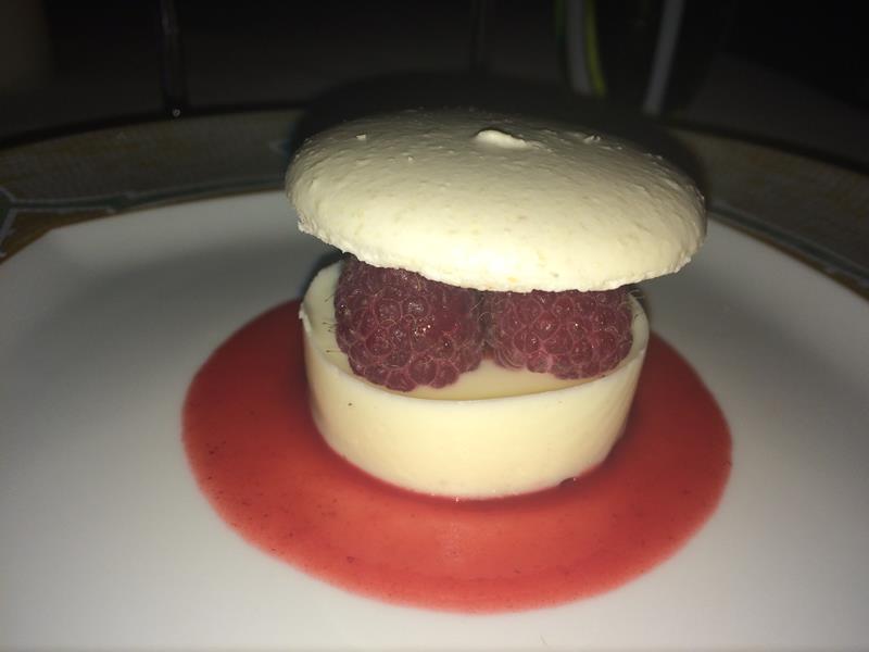 Raspberry panna cotta cake
